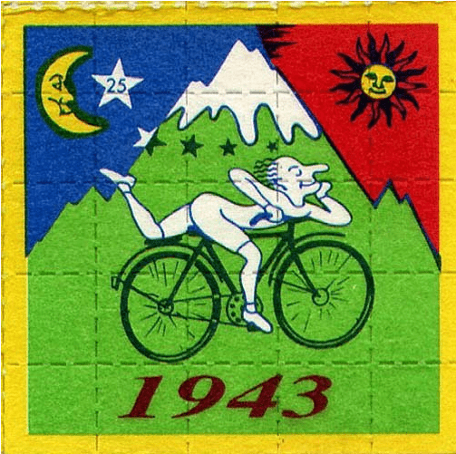 The iconic LSD blotter image celebrating bicycle day